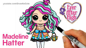 how to draw madeline hatter step by step chibi ever after high