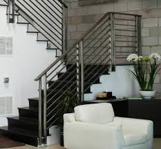 Black Banister Comfy White Living Room Sofa Put Beside Black Staircase With