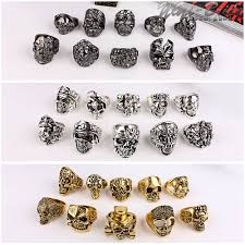 men rock rings images Fashion big 10pcs random style antique silver gold black men ring jpg