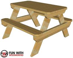 Free Plans For Outdoor Picnic Tables by Fun With Woodworking Free 4 Ft Picnic Table Plan Posted