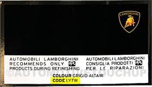 lamborghini paint code locations touch up paint automotivetouchup