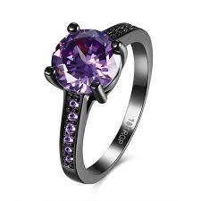 amethyst engagement rings amazon com fendina princess cut 18k black gold ring amethyst
