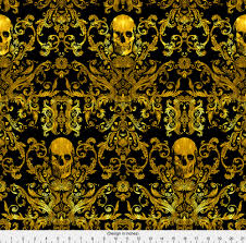 Halloween Material Fabric Gold Skull Fabric Dread Damask In Gilded By Willowlanetextiles