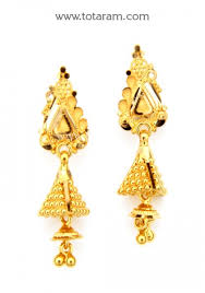 gold dangle earrings 22k gold jhumkas gold dangle earrings 235 gjh1480 in 5 650 grams