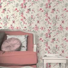 Faux Wood Wallpaper by Muriva Floral Rose Flower Pattern Wallpaper Faux Wood Beam L13610
