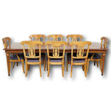solid wood dining room tables ethan allen solid wood dining table w 8 chairs upscale consignment