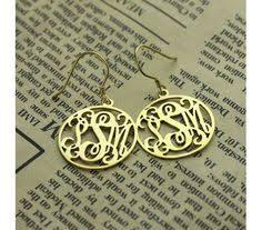 Gold Monogram Earrings Solid Gold Personalized Monogram Earring Jewelry Pinterest