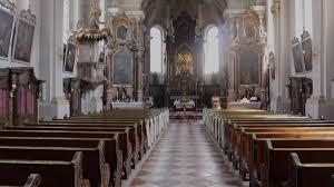 german church catholic empty rows with wedding decoration and