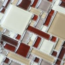 Modern Kitchen Tile Backsplash by Red And Silver Mosaic Glass Tiles For Kitchen And Bathroom