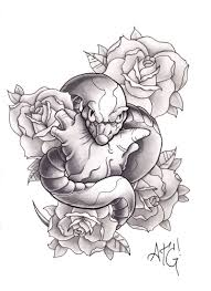 black and grey snake with roses design by a t g 4