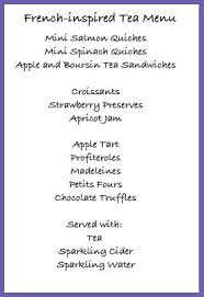 an example of a french inspired tea party menu entertaining