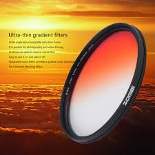 zomei 52 55 58 67 72 77 82mm graduated color filter gradient red