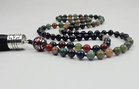 handmade long necklace images Natural stone indian agate necklace leather tassel necklace long jpg