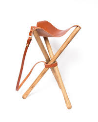 leather folding tripod camp stool u2013 chestnut u2013 wood u0026faulk