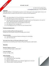 slp resume sample speech pathology physical therapy