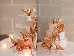 Origami Wedding Cake - cake a wedding cake covered in golden origami cranes the