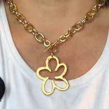 necklace pendant clasp images Aluminum anodized necklace with gold plated daisy flower pendant jpeg