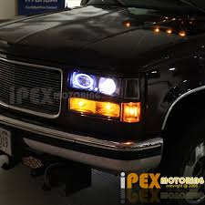 1998 chevy silverado tail lights 94 98 gmc sierra c1500 c2500 halo projector led black headlight tail