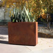 outdoor tall brown metal rectangular planter box