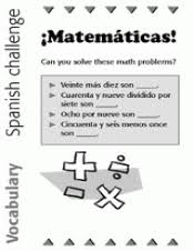spanish vocabulary math problems foreign languages printable