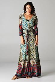 boho wrap boho medallion border wrap maxi dress