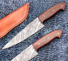 chef knife damascus steel rose wood handled ck 1