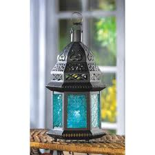 blue glass moroccan style candle lantern wholesale at koehler home
