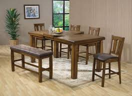 solid wood counter height table sets morrison oak finish 6 piece counter height dining table set