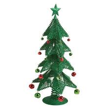 17 5 glittered tree with ornament bells tree