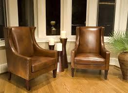 Wingback Chairs Leather Furniture Leather Wingback Chair With Glass Windows And Brown