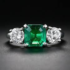 fine emerald rings images Fine emerald and diamond three stone ring jpg