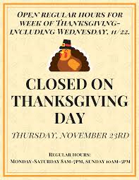thanksgiving week hours springfield food co op