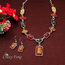 african necklace earrings images 925 sterling silver square amber african necklace earrings jewelry jpg
