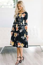 black gold rust pocket modest dress best modest boutique