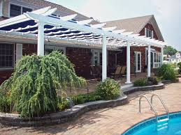 White Vinyl Pergola Kits by Canvas Pergola Shadetree Canvas Pergolas