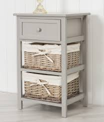 grey bedside unit with wicker storage baskets shabby chic ebay
