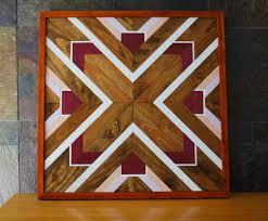 american geometric design wood wall navajo tribal