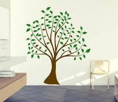Brown Tree Wall Decal Nursery Baby Nursery Tree Wall Sticker Green Leaves Brown Tree Wall Decals