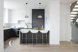 Flat Kitchen Cabinets Modern Black And White Kitchen With Black Pantry Cabinets Modern