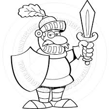 cartoon knight with a sword and shield black u0026 white line art by