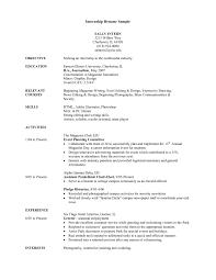 Resume Sle by Advertising Internship Resume Intern Resume Sle Chemical