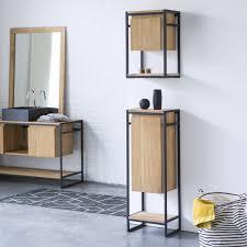 Teak Bathroom Storage Tikamoon Metal And Teak Bathroom Storage Set Michal 170