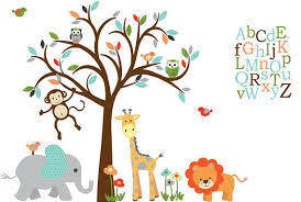 Alphabet Wall Decals For Nursery Alphabet Wall Decal Safari Animal Wall Decal Nursery Wall