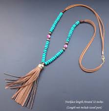 leather necklace turquoise stone images Natural stone turquoise wheel beads necklace leather tassel jpg