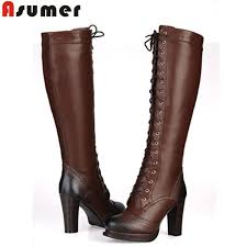 s knee boots on sale womens knee high lace up winter boots mount mercy