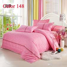 pink bedding with white dot full queen king size bedding set