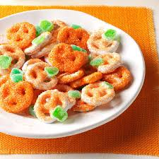 Halloween Appetizers Recipes Pictures by Mini Pretzel Pumpkins Recipe Taste Of Home