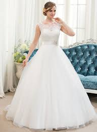 wedding gowns gown scoop neck sweep organza lace wedding dress with