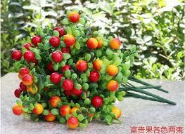 arrangement fruit 32cm 6branches 2pcs lot orange berry fruit artificial green