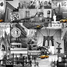 Design House Skyline Yellow Motif Wallpaper Muriva Big Apple New York City Wallpaper Black Grey Yellow